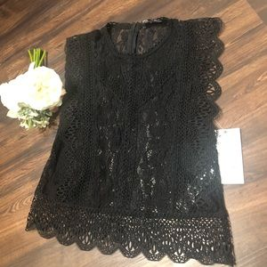ZARA medium lace black top